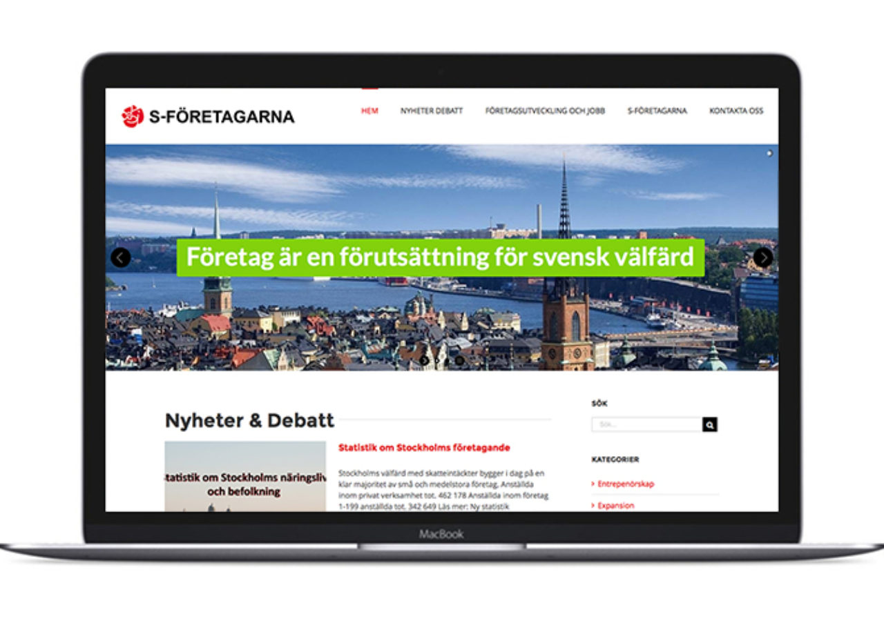 S-företagarna i Stockholm - hemsida av artig made it! webbyrå